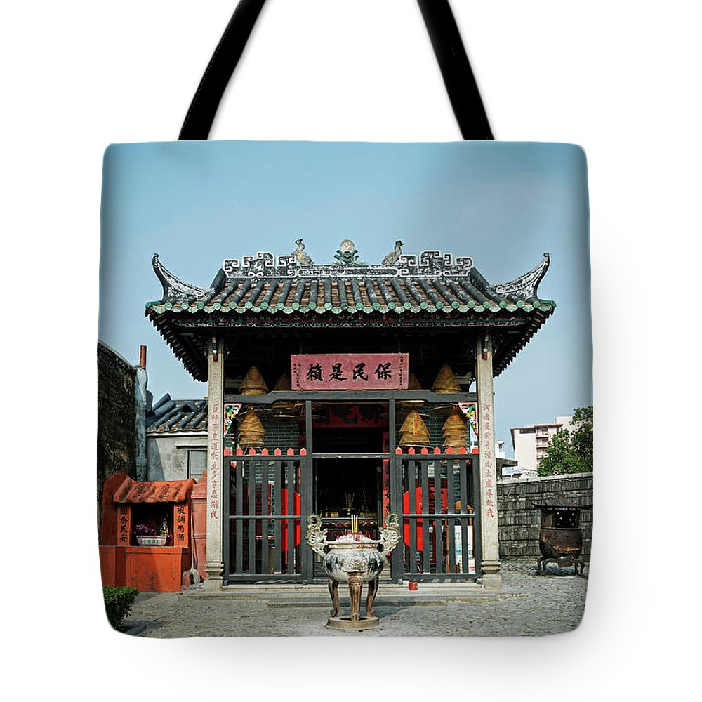 Na Tcha Temple Tote Bag featuring the photograph Na Tcha Temple Small Chinese Shrine Landmark In Macau China by JM Travel Photography