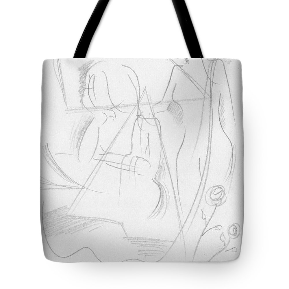 Pencil Work On Paper Tote Bag featuring the drawing Now Get Up by Mustafa Attari