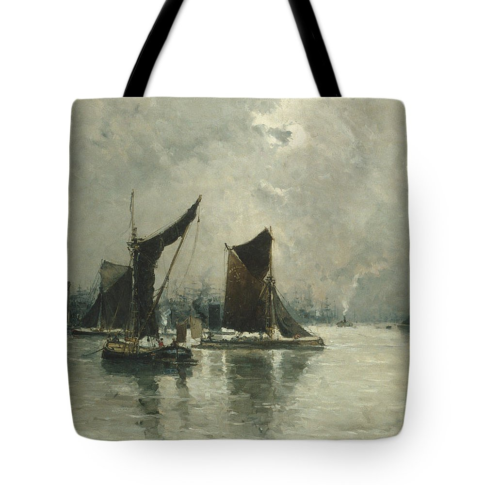 Frank Myers Boggs Tote Bag featuring the painting On The Thames by Frank Myers Boggs