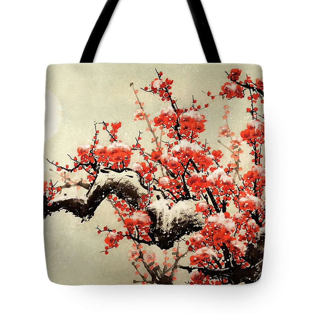 Chinese Culture Tote Bag featuring the digital art Plum Blossom by Vii-photo