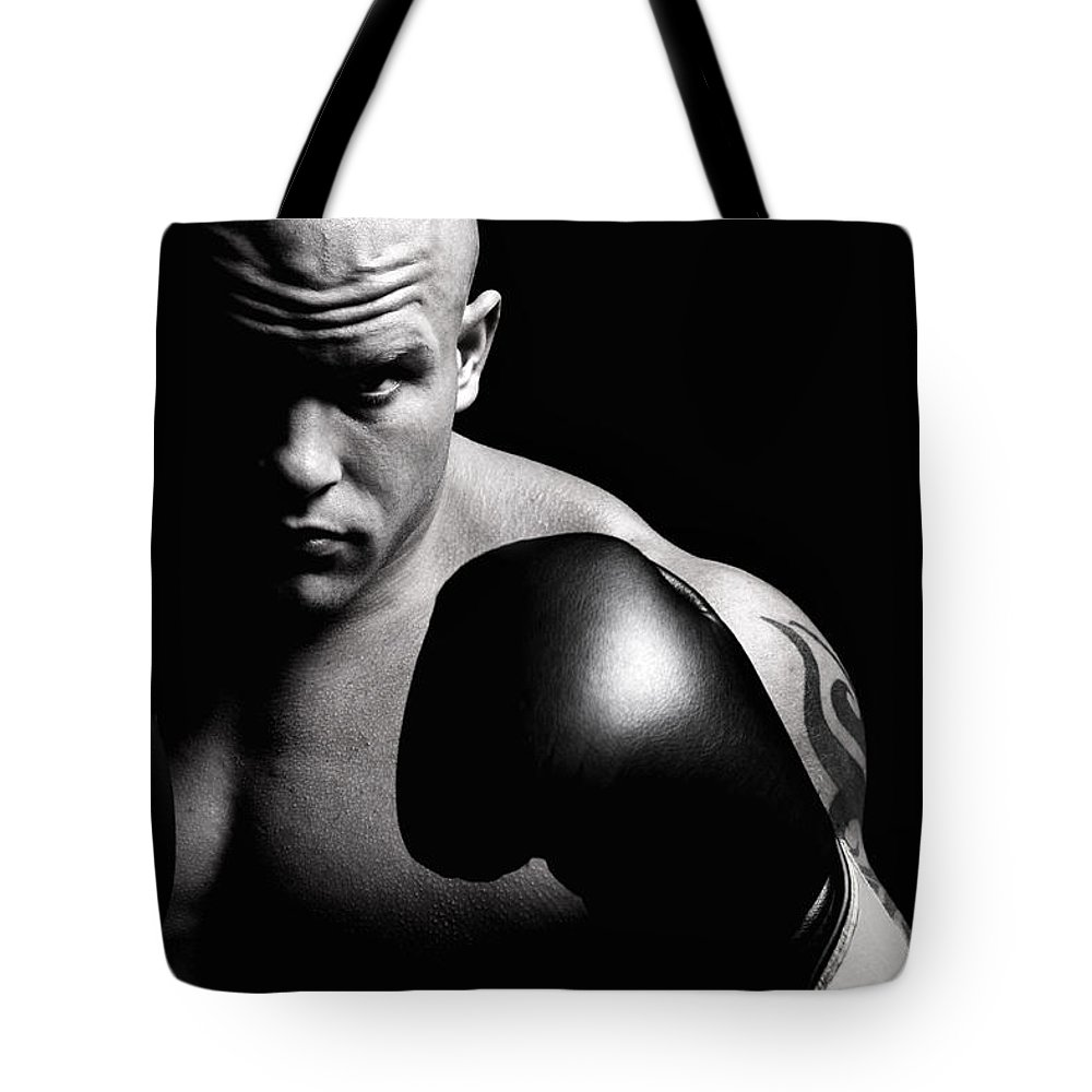 Toughness Tote Bag featuring the photograph Powerful Fighter Portrait by Vuk8691