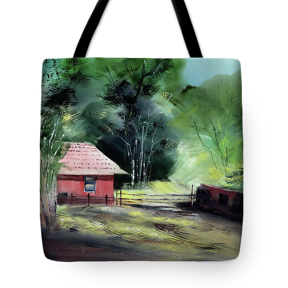 Nature Tote Bag featuring the painting Red House R by Anil Nene