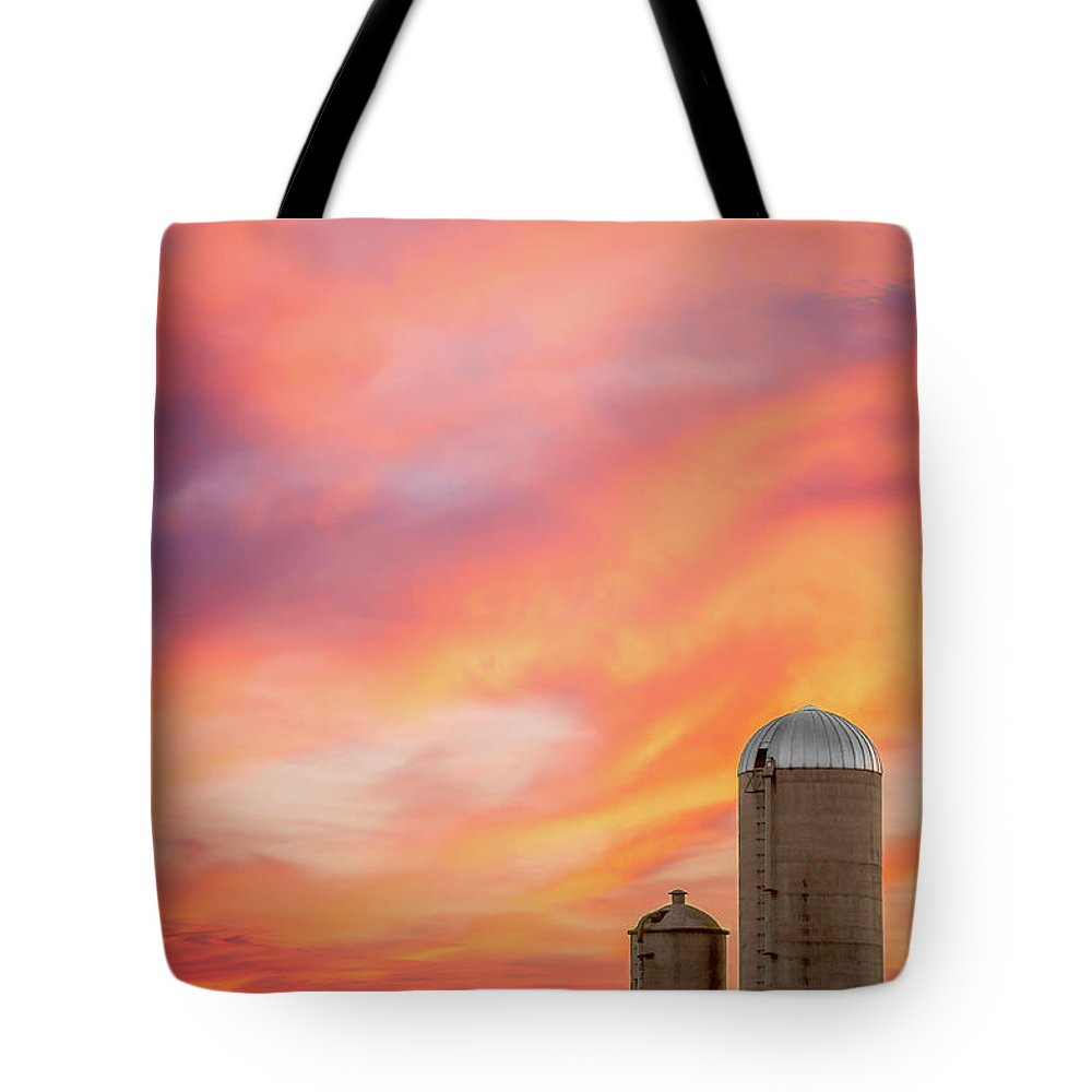 Silos Tote Bag featuring the photograph Rural Skies by Todd Klassy