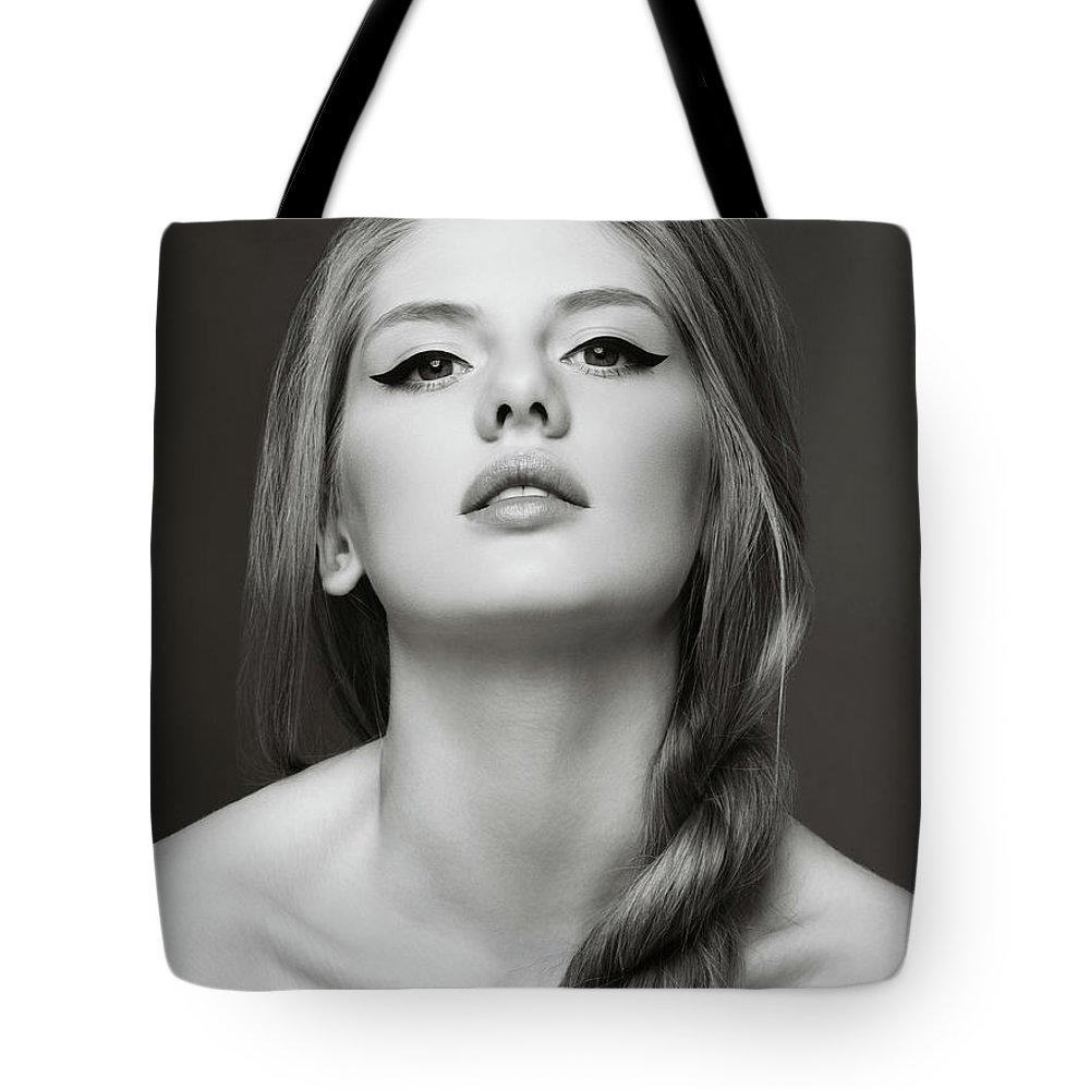 Cool Attitude Tote Bag featuring the photograph Sensual Blonde Woman by Lambada