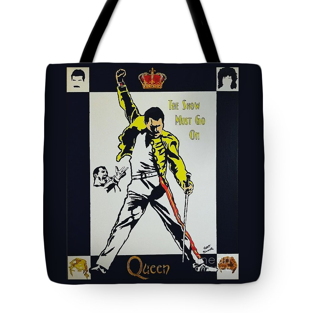 Freddie Mercury Tote Bag featuring the painting Show Must Go On by George Harville