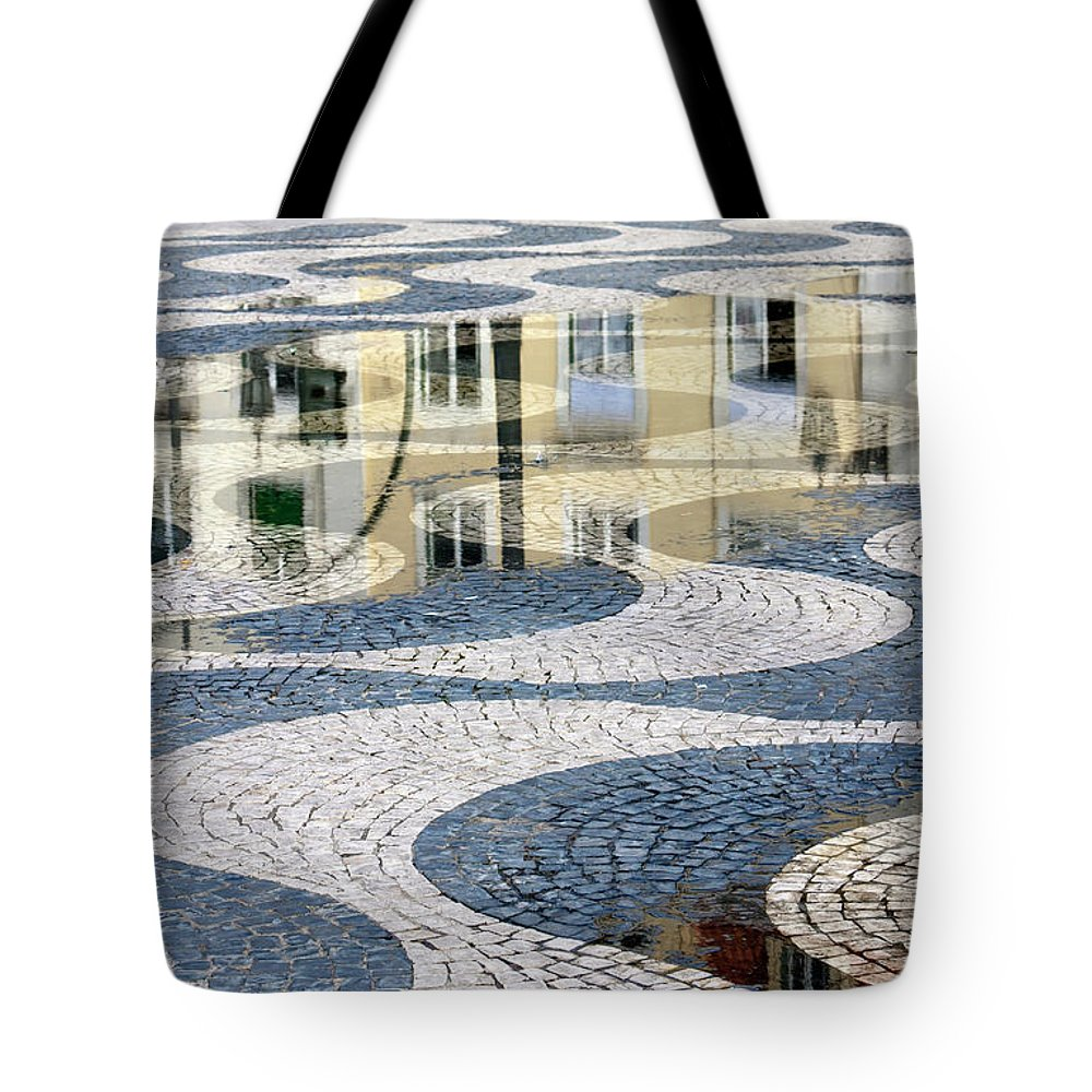Curve Tote Bag featuring the photograph Sidewalk In Lisbon, Portugal by Typo-graphics