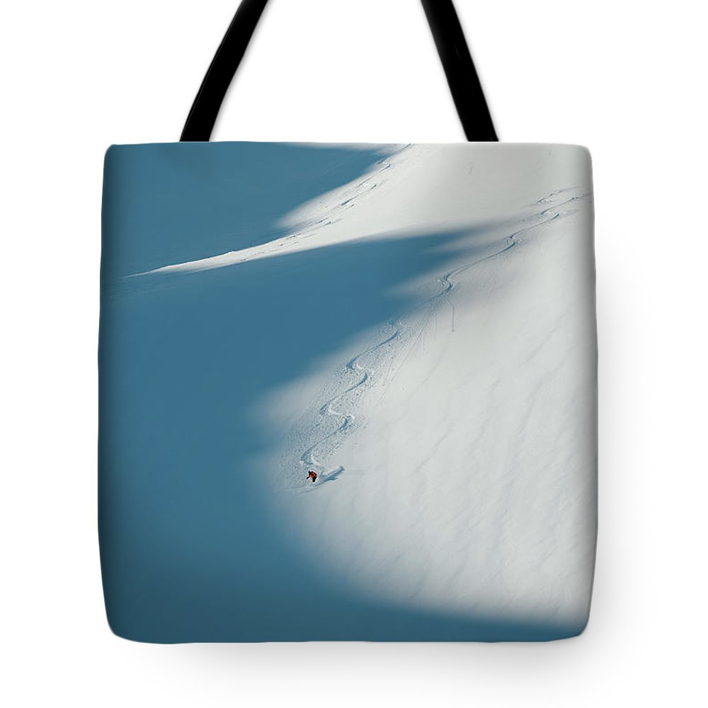 Scenics Tote Bag featuring the photograph Ski Guide At Work by Topher Donahue