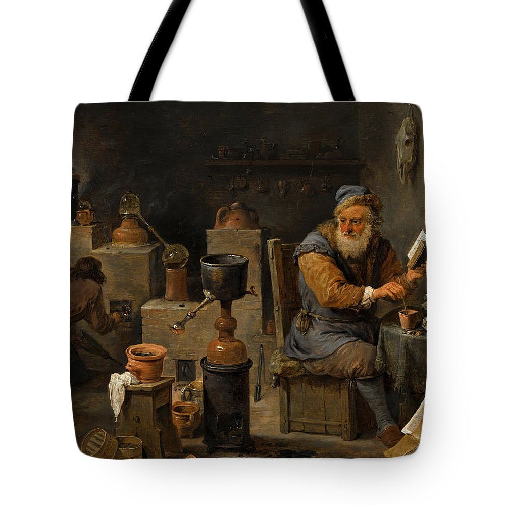 David Teniers The Younger Tote Bag featuring the painting The Alchemist by David Teniers the Younger