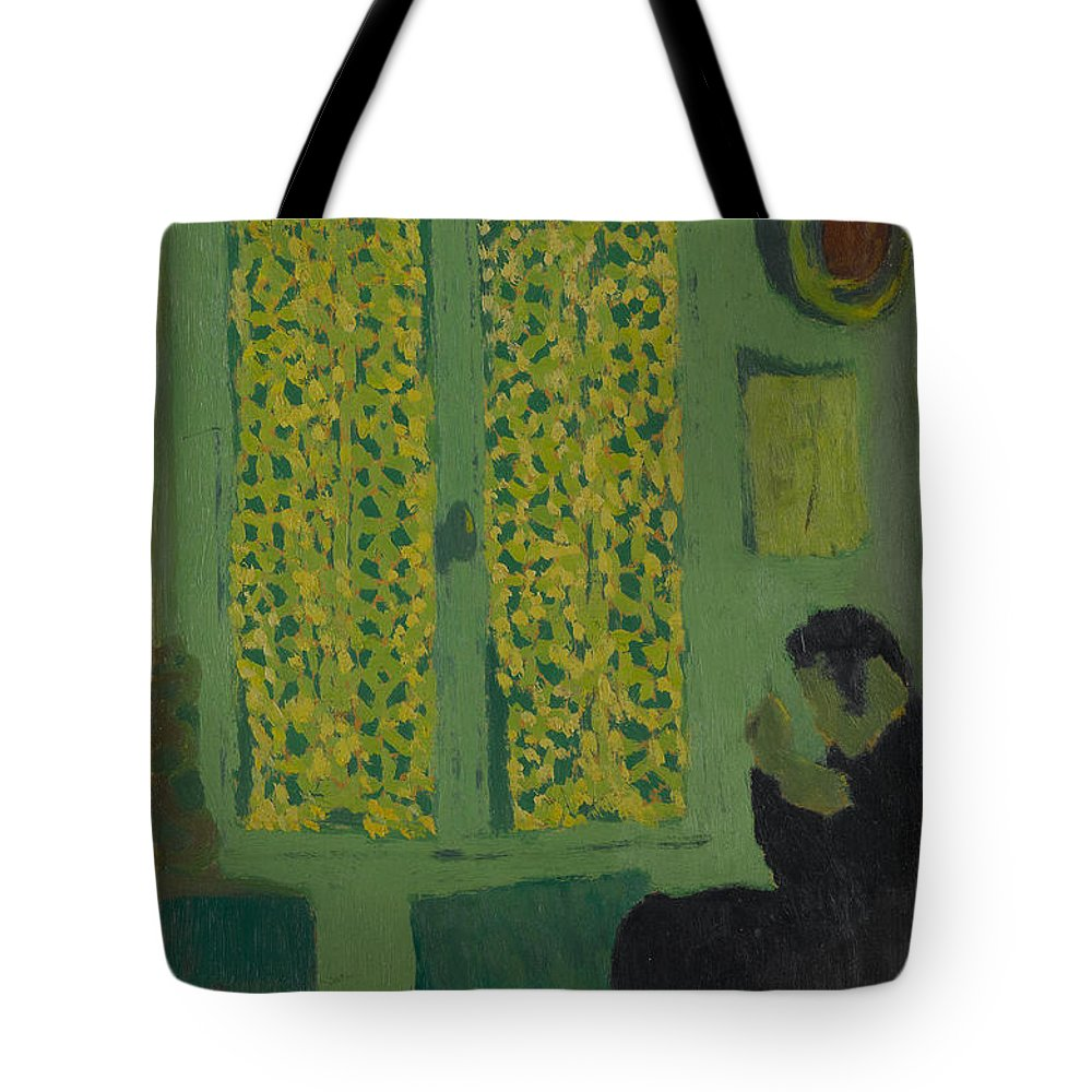 Edouard Vuillard Tote Bag featuring the painting The Green Interior Figure Seated By A Curtained Window  by Edouard Vuillard