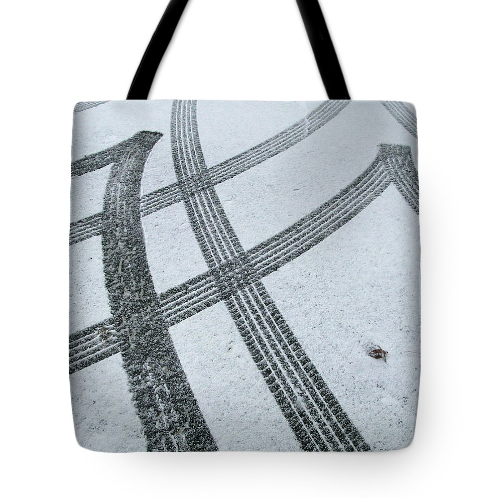 Black Color Tote Bag featuring the photograph Tire Tracks In Snow, Winter by Jerry Whaley