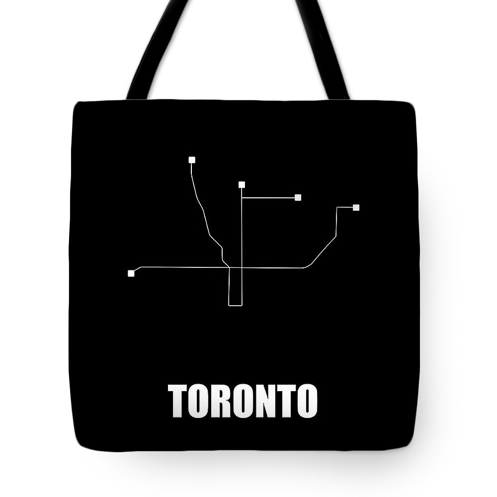 Toronto Tote Bag featuring the digital art Toronto Black Subway Map by Naxart Studio