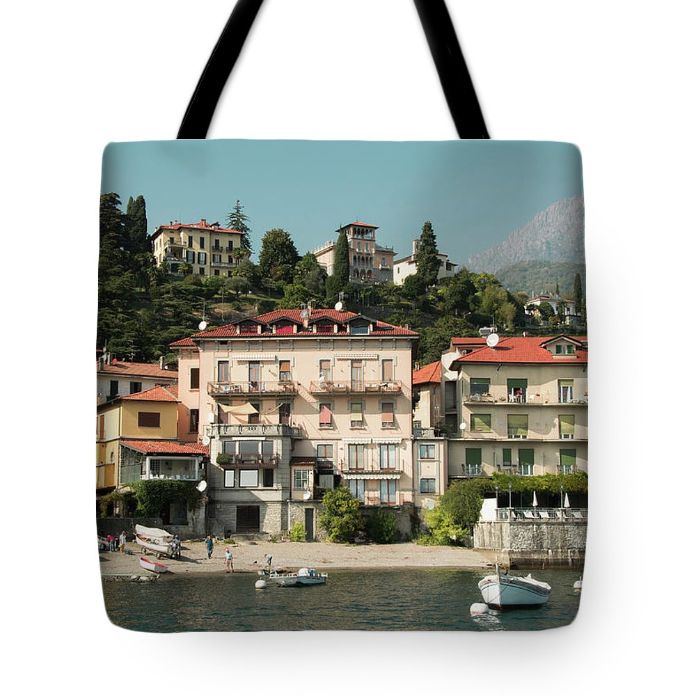 Landscape Tote Bag featuring the photograph Town In The Shore Of Lake Como by Guillermo Lizondo