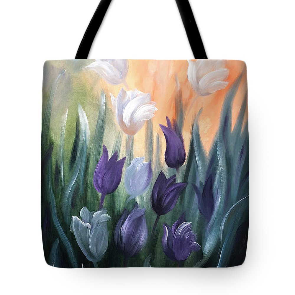 Tulip Tote Bag featuring the painting Tulips by Gina De Gorna