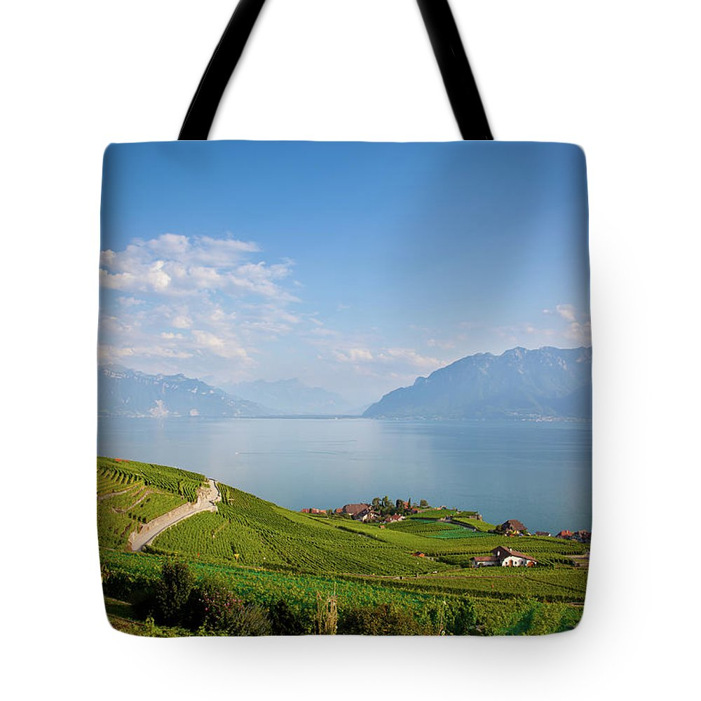 Alcohol Tote Bag featuring the photograph Vineyards Around Lake Leman by Onfokus
