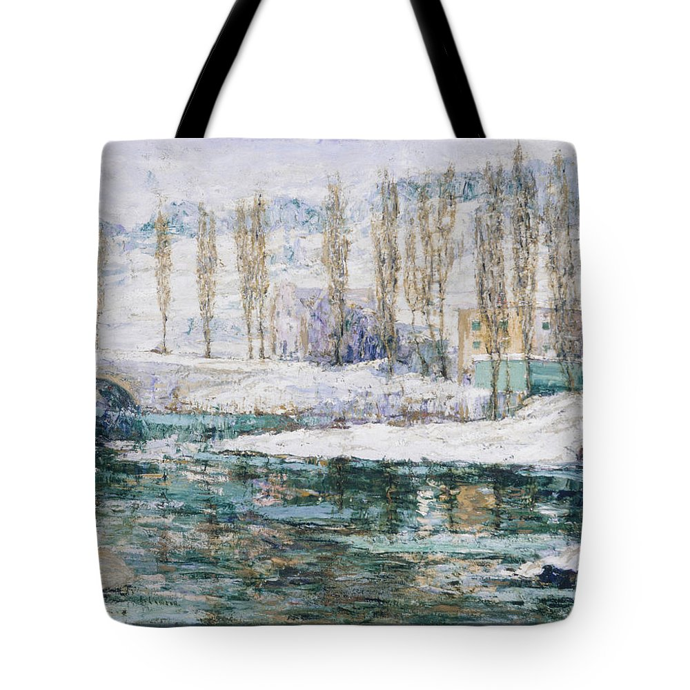 Ernest Lawson Tote Bag featuring the painting Winter by Ernest Lawson