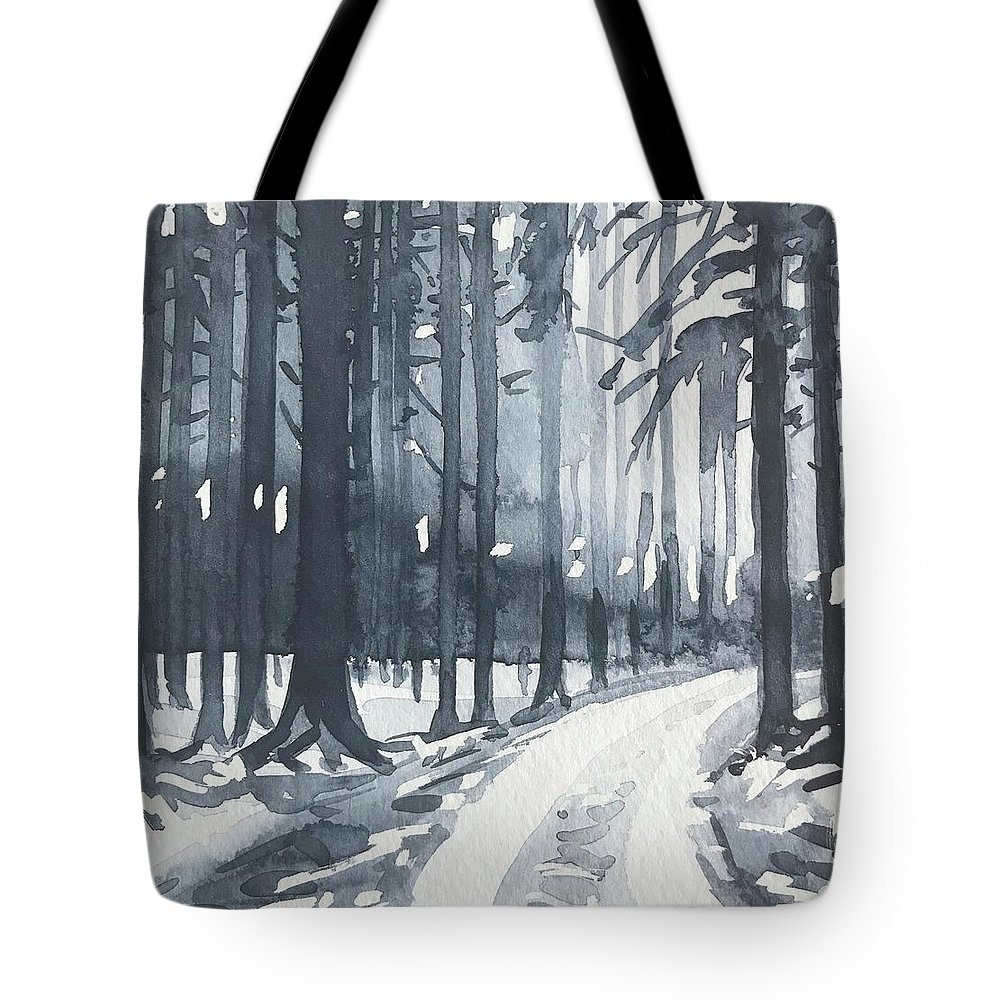 Trees Tote Bag featuring the painting Winter Trees by Luisa Millicent