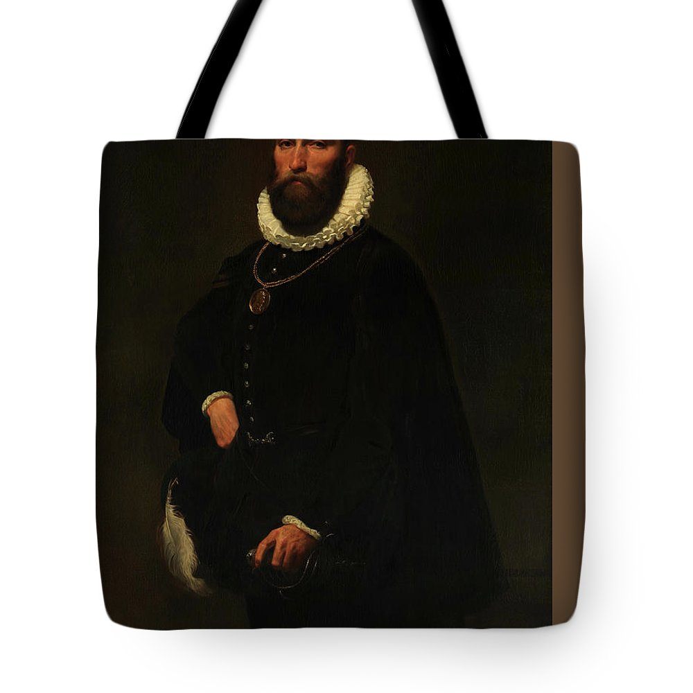 Emanuel Leutze Tote Bag featuring the painting Worthington Whittredge by Emanuel Leutze