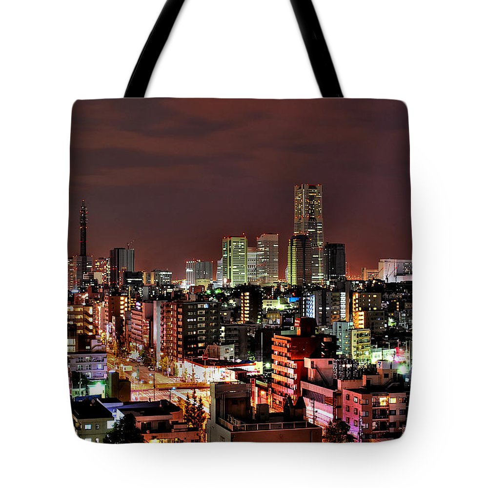 Tranquility Tote Bag featuring the photograph Yokohama Nightscape by Copyright Artem Vorobiev