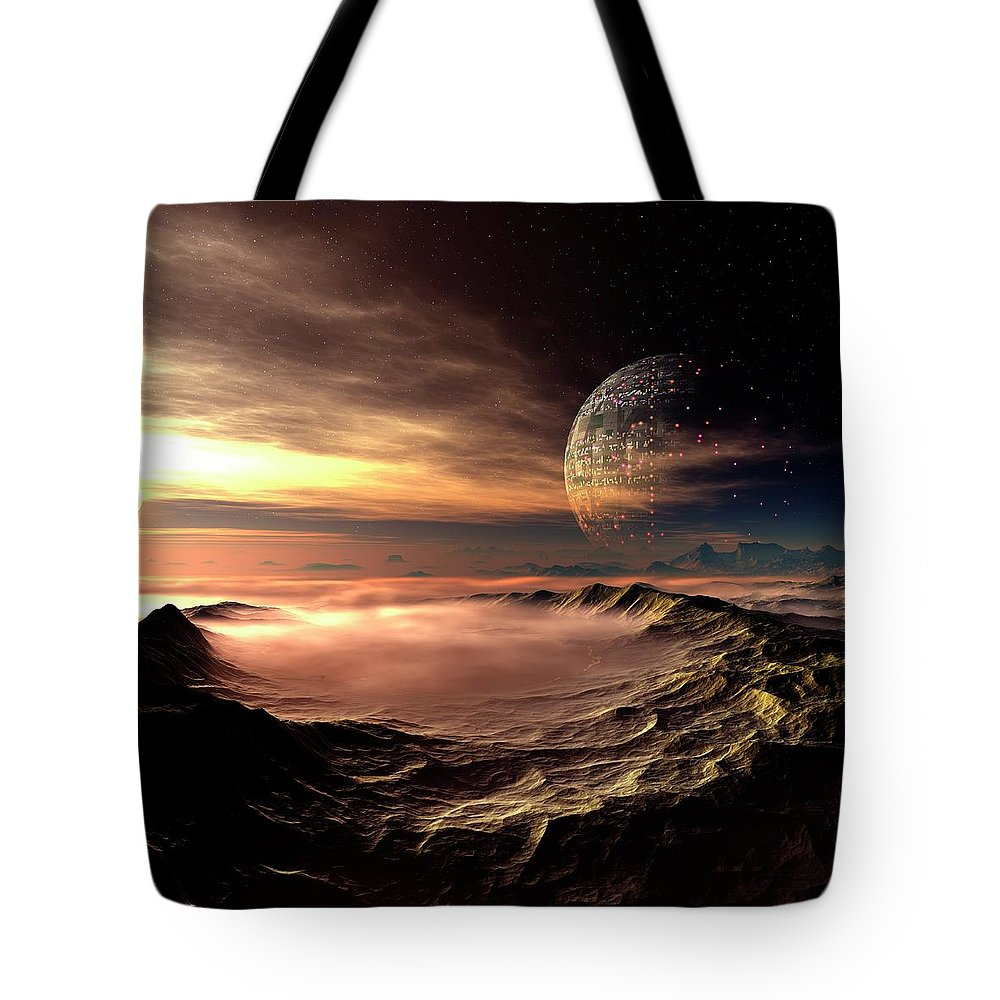 Concepts & Topics Tote Bag featuring the digital art Alien Planet, Artwork by Mehau Kulyk