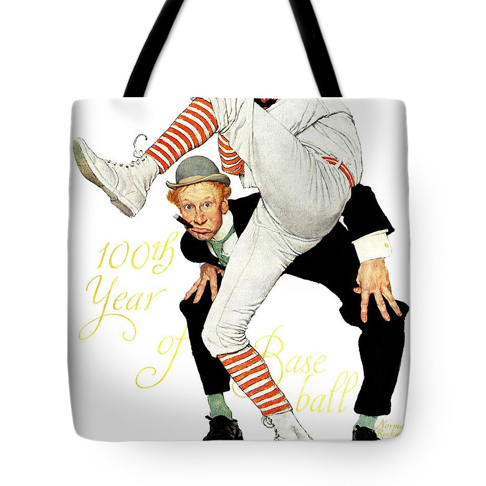 Anniversaries Tote Bag featuring the drawing 100th Anniversary Of Baseball by Norman Rockwell