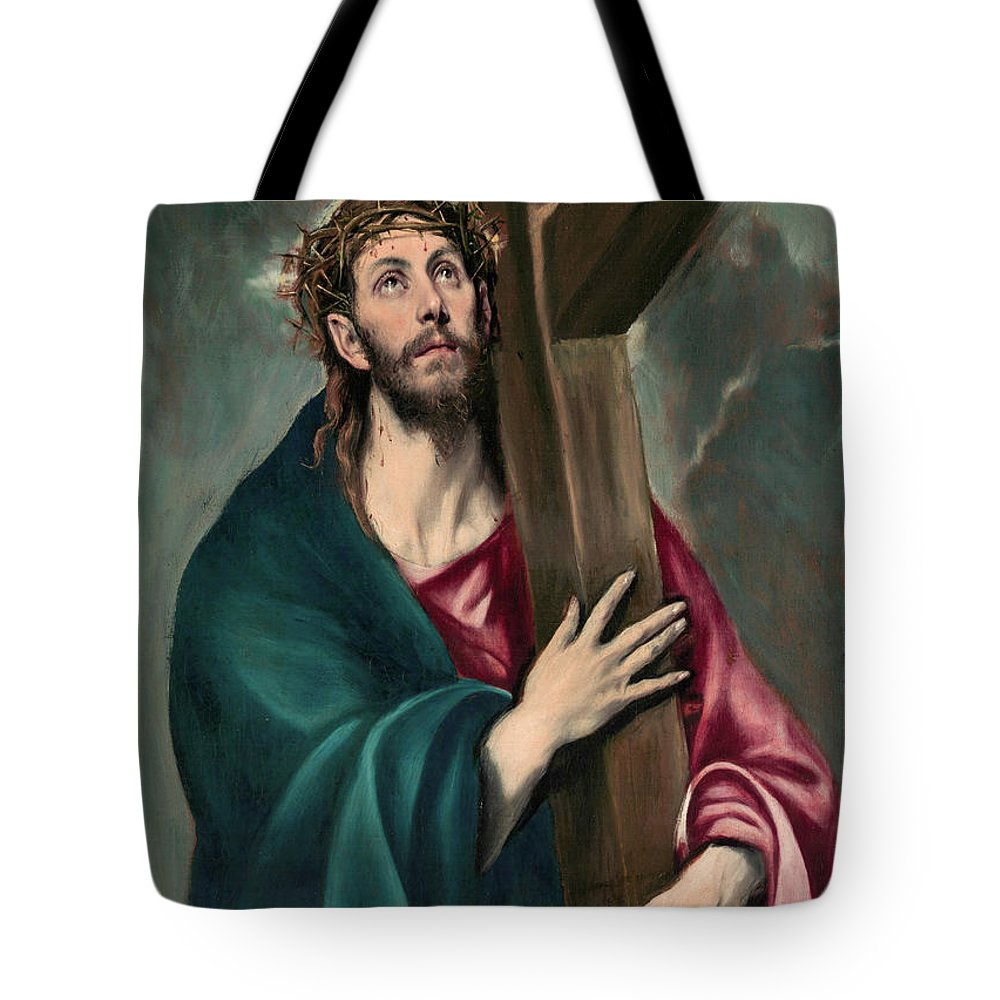 El Greco Tote Bag featuring the painting Christ Carrying The Cross by El Greco