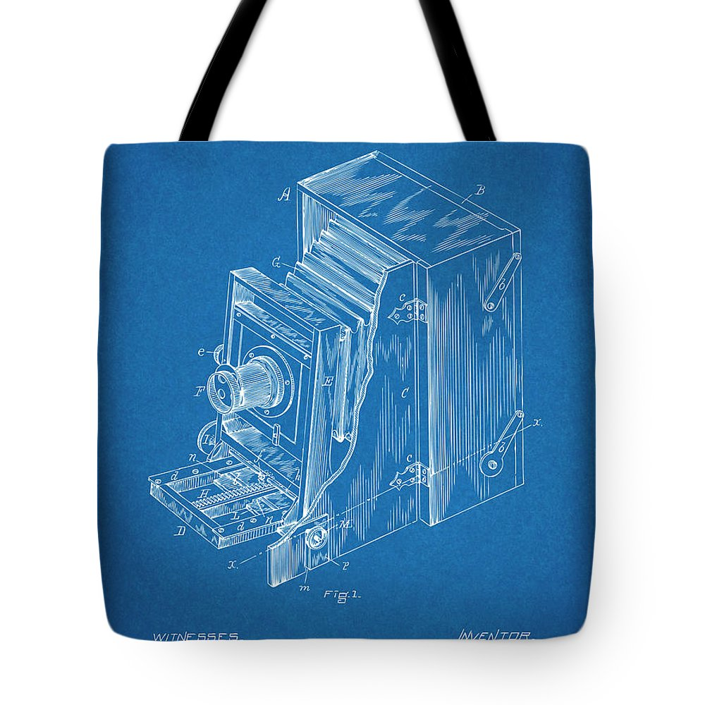 1887 Blair Photographic Camera Patent Print Tote Bag featuring the drawing 1887 Blair Photographic Camera Blueprint Patent Print by Greg Edwards