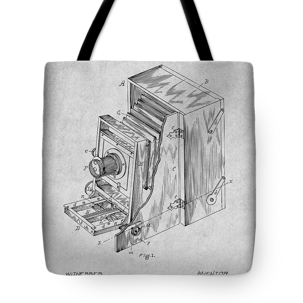 1887 Blair Photographic Camera Patent Print Tote Bag featuring the drawing 1887 Blair Photographic Camera Gray Patent Print by Greg Edwards