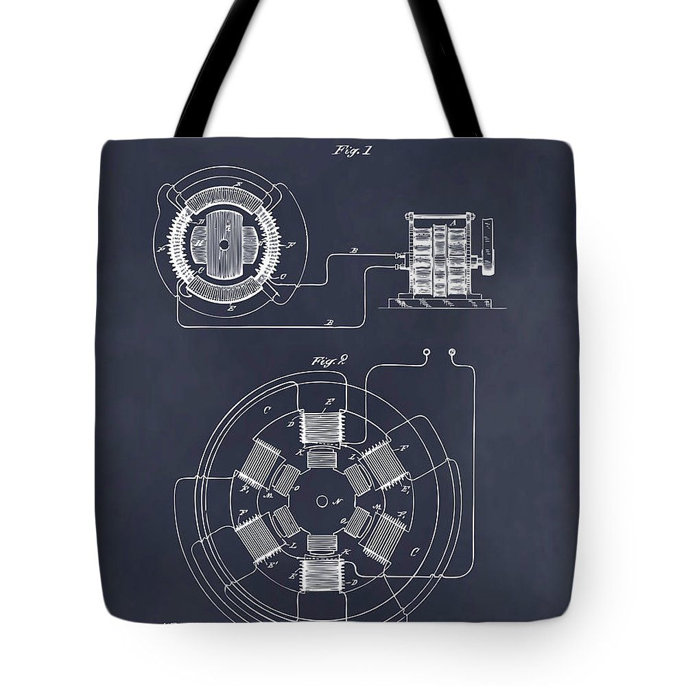 1896 Tesla Alternating Motor Tote Bag featuring the drawing 1896 Tesla Alternating Motor Blackboard Patent Print by Greg Edwards