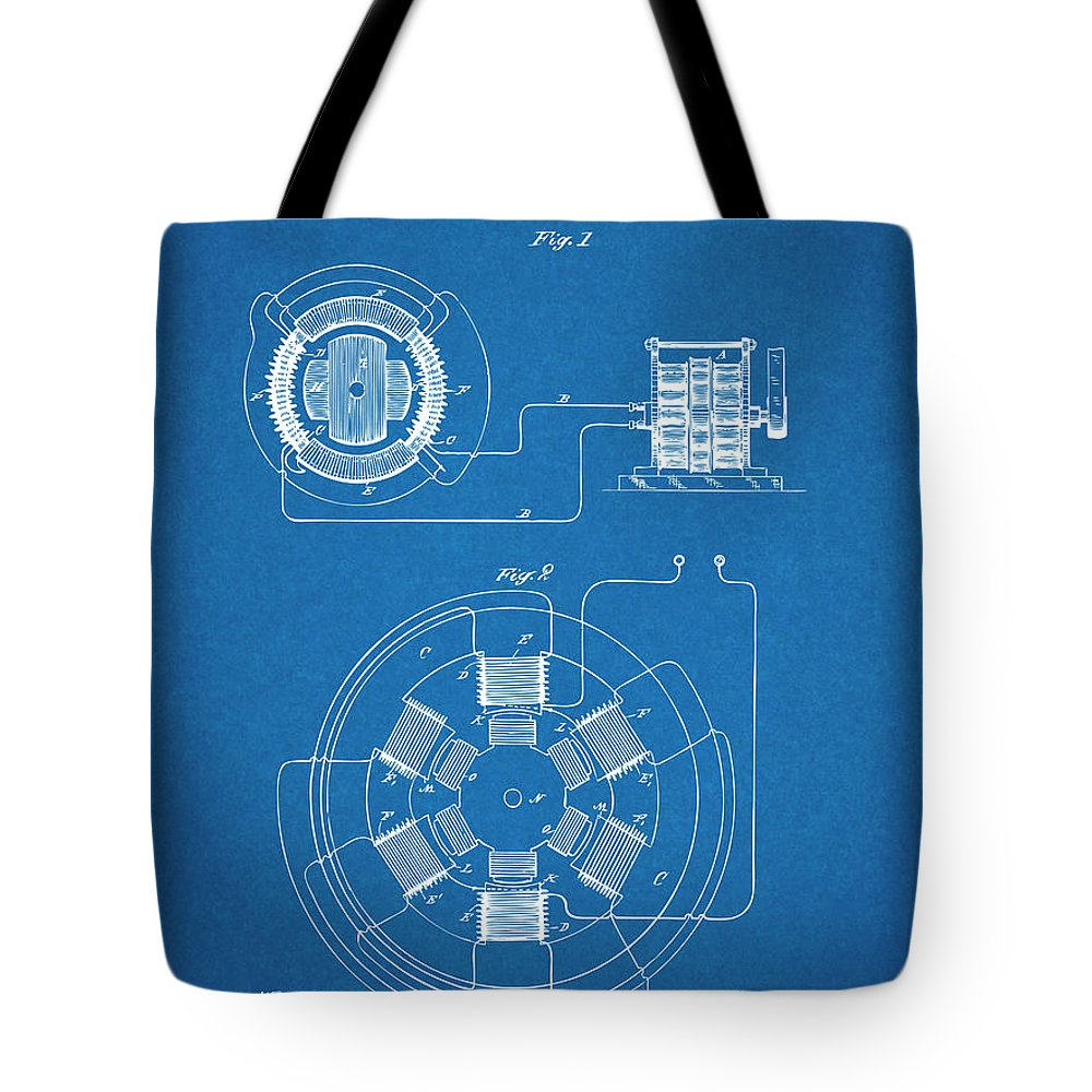 1896 Tesla Alternating Motor Tote Bag featuring the drawing 1896 Tesla Alternating Motor Blueprint Patent Print by Greg Edwards