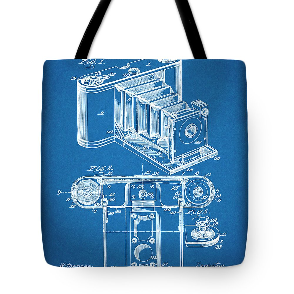Art & Collectibles Tote Bag featuring the drawing 1899 Photographic Camera Patent Print Blueprint by Greg Edwards
