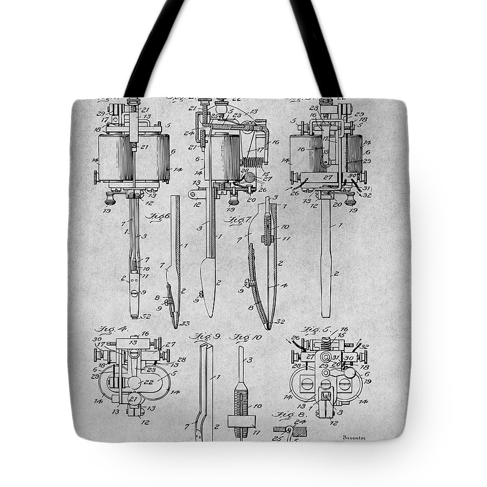 1904 Wagner Tattoo Machine Patent Print Tote Bag featuring the drawing 1904 Wagner Tattoo Machine Gray Patent Print by Greg Edwards