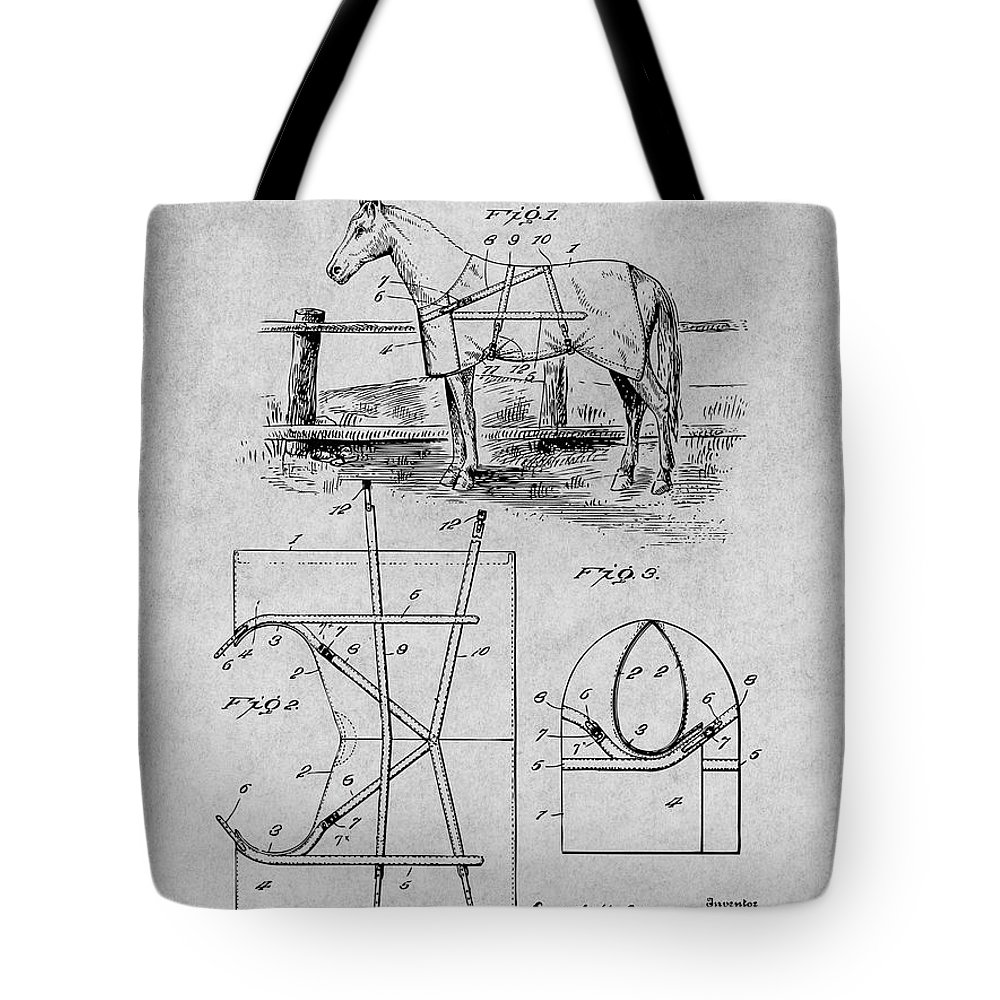 Art & Collectibles Tote Bag featuring the drawing 1905 Horse Blanket Patent Print Gray by Greg Edwards