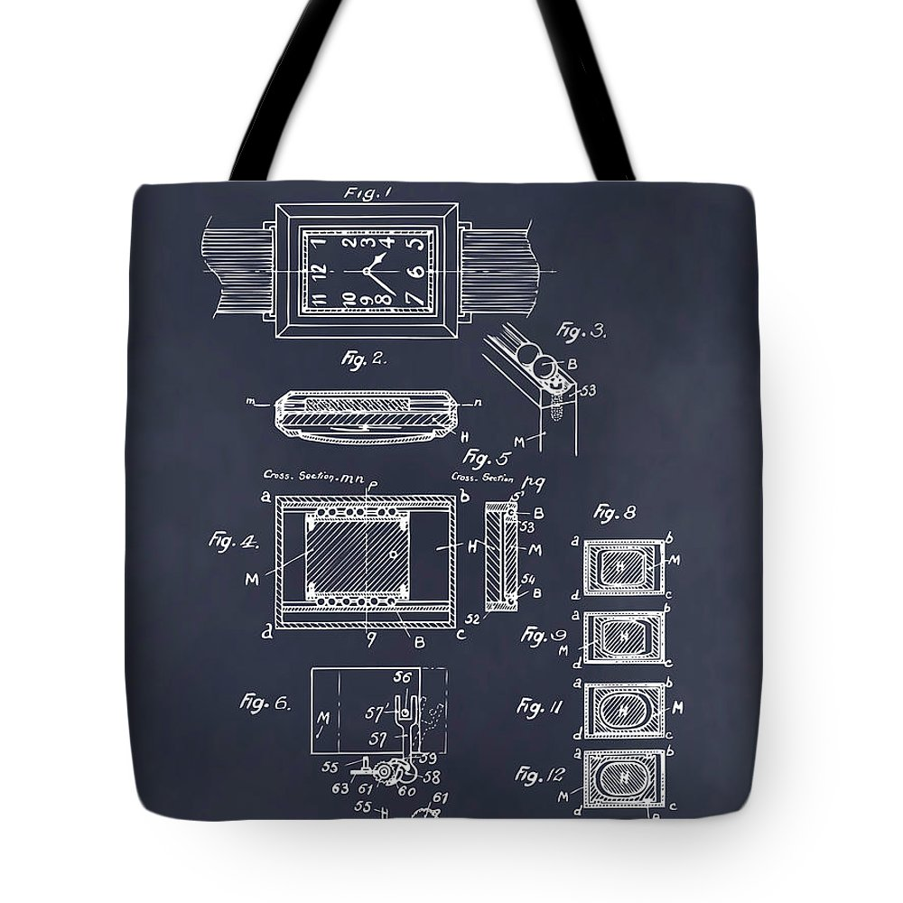 Art & Collectibles Tote Bag featuring the drawing 1930 Leon Hatot Self Winding Watch Patent Print Blackboard by Greg Edwards