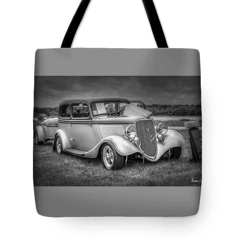 2019 Tote Bag featuring the digital art 1933 Ford Tudor Sedan With Trailer by Ken Morris