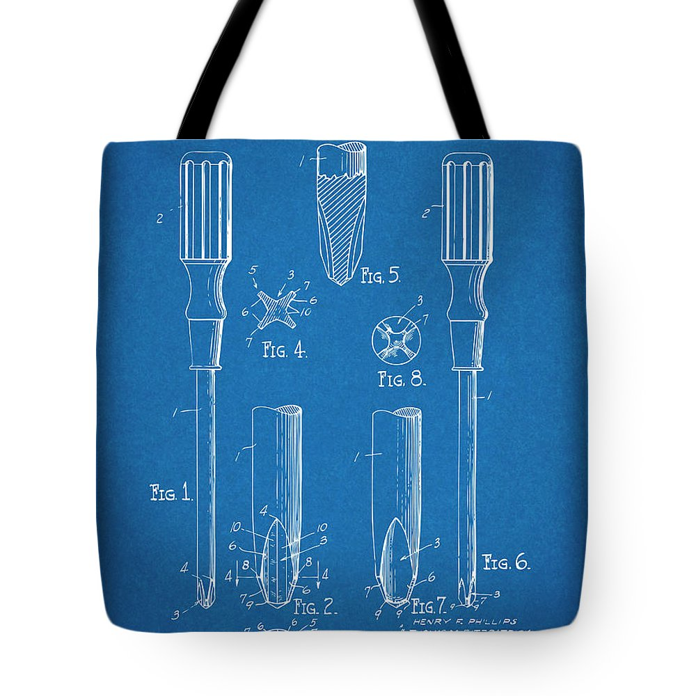 1935 Phillips Screw Driver Tote Bag featuring the drawing 1935 Phillips Screw Driver Blueprint Patent Print by Greg Edwards