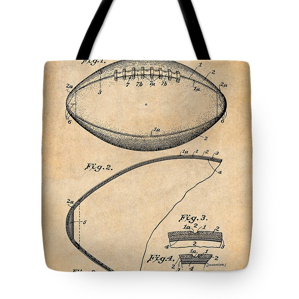 1936 Reach Football Patent Print Tote Bag featuring the drawing 1936 Reach Football Antique Paper Patent Print by Greg Edwards