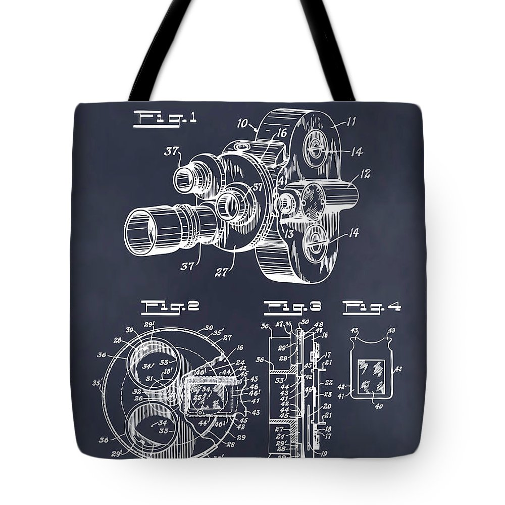 Art & Collectibles Tote Bag featuring the drawing 1938 Bell And Howell Movie Camera Patent Print Blackboard by Greg Edwards