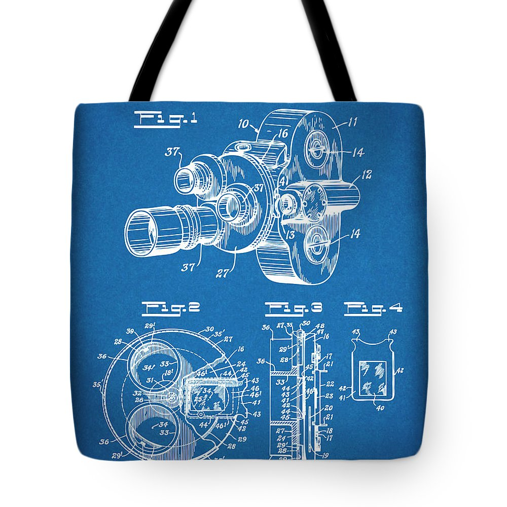 Art & Collectibles Tote Bag featuring the drawing 1938 Bell And Howell Movie Camera Patent Print Blueprint by Greg Edwards