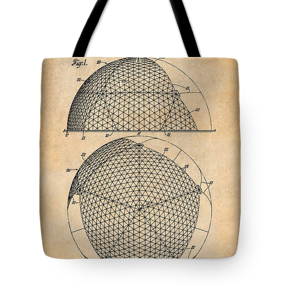 1954 Geodesic Dome Patent Print Tote Bag featuring the drawing 1954 Geodesic Dome Antique Paper Patent Print by Greg Edwards