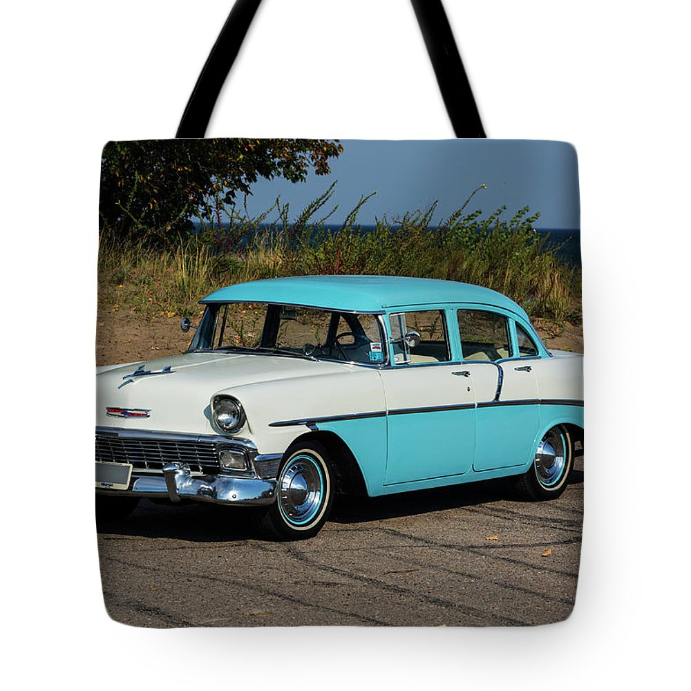 Aging Tote Bag featuring the photograph 1956 Chevrolet 210 by Performance Image