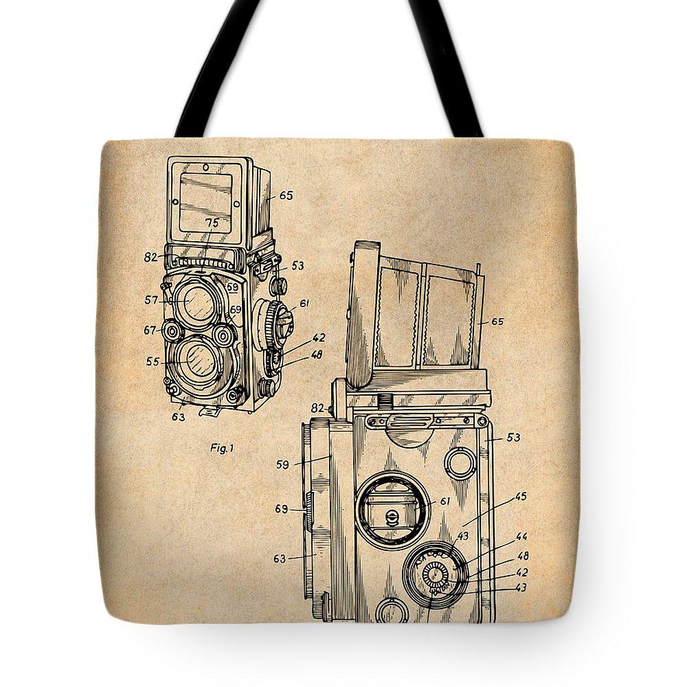 1960 Rolleiflex Photographic Camera Patent Print Tote Bag featuring the drawing 1960 Rolleiflex Photographic Camera Antique Paper Patent Print by Greg Edwards