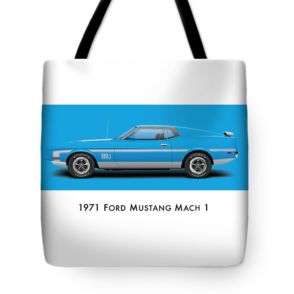1970 Tote Bag featuring the digital art 1971 Ford Mustang Mach 1 - Grabber Blue Ver.2 by Ed Jackson