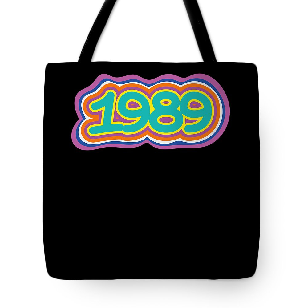 Funny-shirts Tote Bag featuring the digital art 1989 Vintage Grafitti Style Word Art Classic Art by Henry B