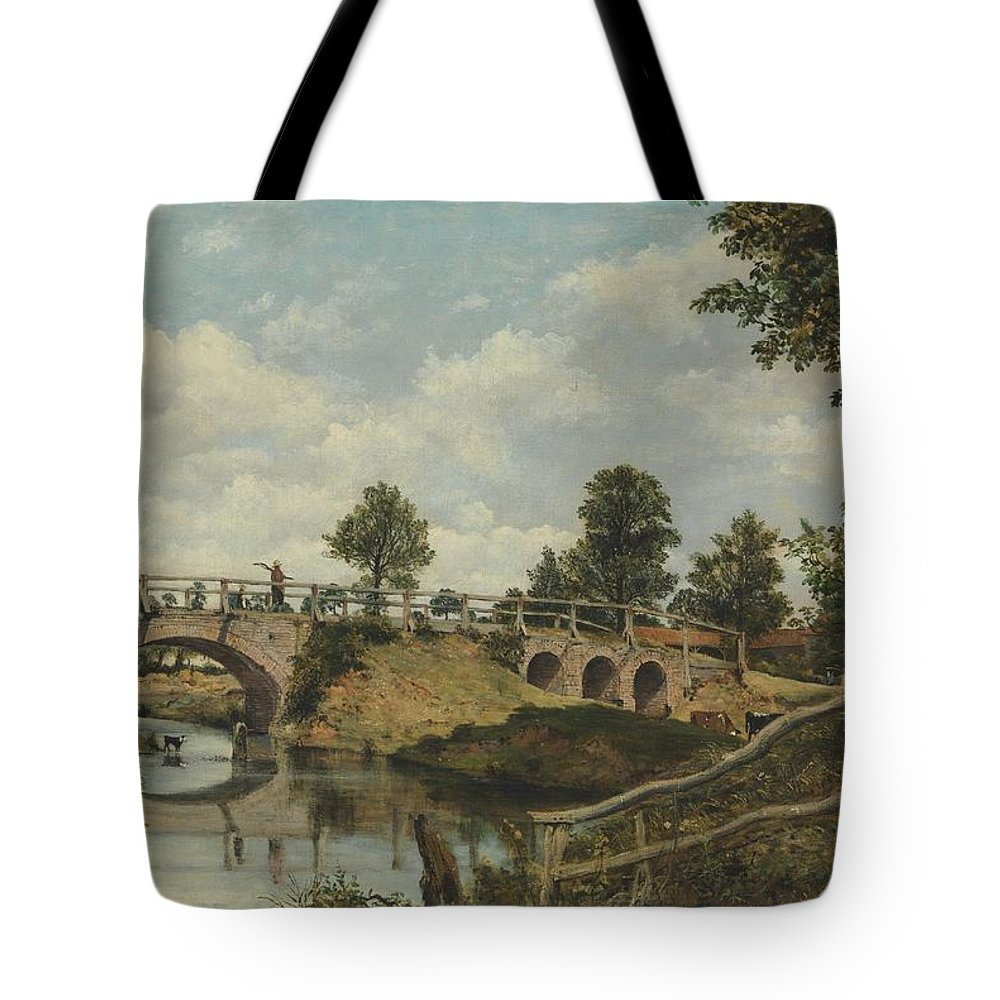 Frederick Waters Watts Tote Bag featuring the painting An Old Bridge At Hendon Middlesex by Frederick Waters Watts