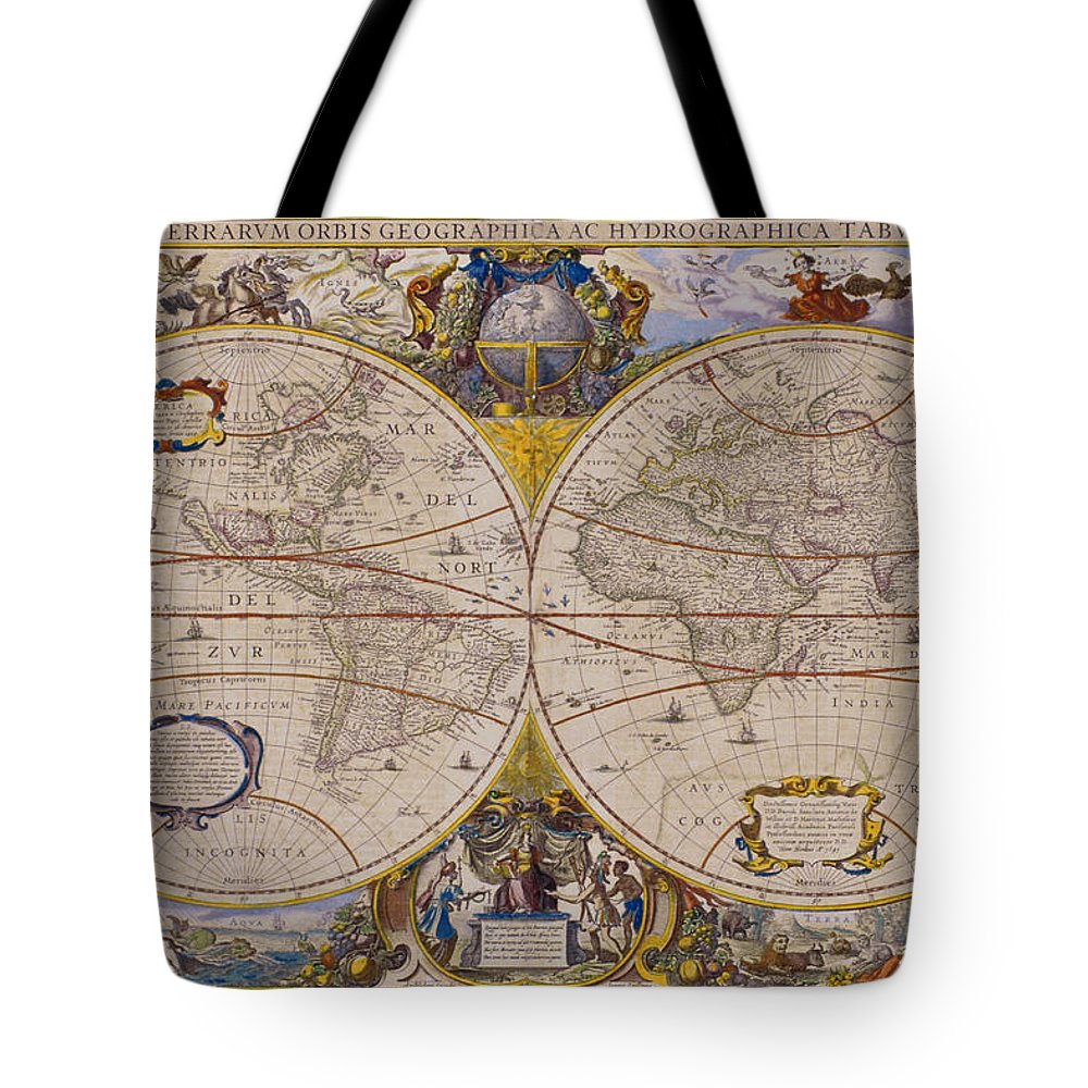 Latitude Tote Bag featuring the digital art Antique Map Of The World by Comstock