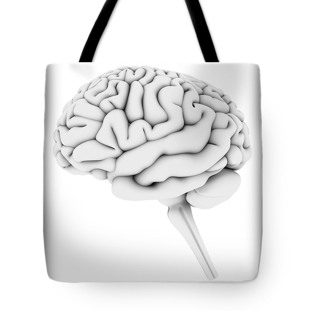 White Background Tote Bag featuring the digital art Brain, Artwork by Pasieka