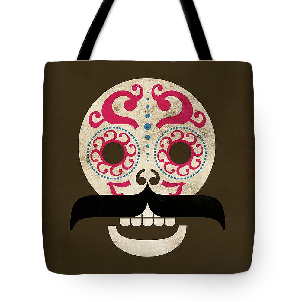Black Color Tote Bag featuring the digital art Calaca by Marco Recuero