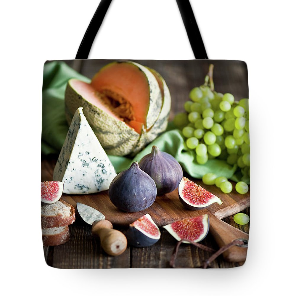 Large Group Of Objects Tote Bag featuring the photograph Cheese Board by Verdina Anna