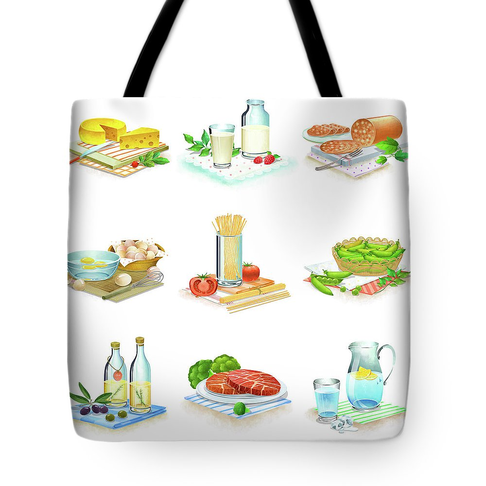 Milk Tote Bag featuring the digital art Close-up Of Food Stuff by Eastnine Inc.