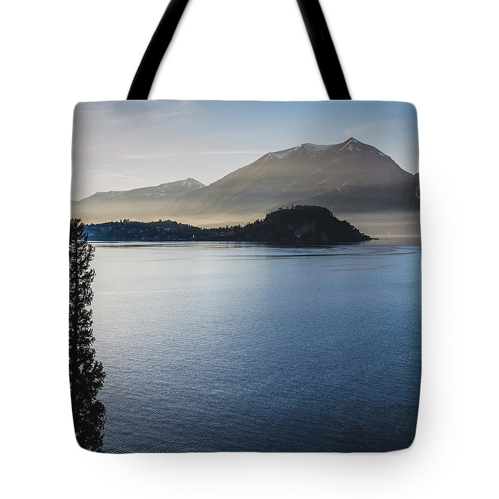 Scenics Tote Bag featuring the photograph Como District Lake by Deimagine